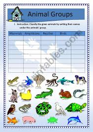 Science Animals Classification Updated W Key Esl Worksheet By