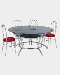 picture of round glass top dining table and 4 rexin dining chairs