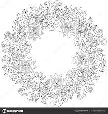 Floral Doodles Wreath In Zentangle Ornamental Style Vector Circ