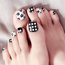 Hukai 24pcs Black White False Fake Artificial Toe Nails Tips Toe Nail Art Tools J30
