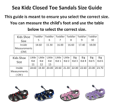 Big Kids Shoe Size Chart Sea Kidz Kids Children Waterproof Hiking Sport Closed Toe Athletic Sandals Toddler Little Kid Big Kid