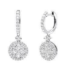 Diamond Round Earrings Designs 2 Carat Dangling Round Diamond Drop Earrings For Women By Luxurman 14k Gold