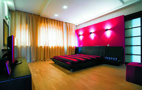 Red And Black Bedroom Wallpaper Amazing Bedroom Lighting Ideas With Red Wallpaper With Wall Light