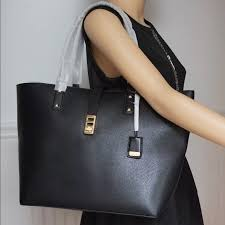 michael kors large karson leather tote bag black