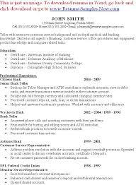 Sample Bank Teller Resume Entry Level Http Www Resumecareer Info