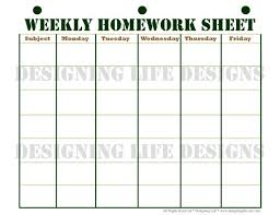 Weekly Homework Homework Planner Schedule And Weekly Homework Sheet Student Printable