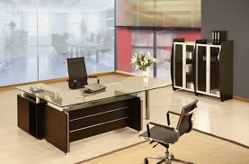 Sleek Office Desk With Tempered Glass Top And Black Base ...