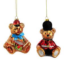 Set of 2 Glass Teddy Bear Christmas Tree Baubles
