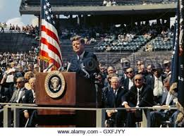 united states president john f kennedy delivers his inaugural   u s president john f kennedy delivers his famous speech on space exploration and the nations