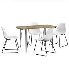 Essgruppe Mit 4 Stühlen Esstisch 120x60x77 Cm Mit 4er Stuhl Set Weiß