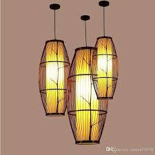 bamboo weaving black led pendant lamps rustic light hanging lamp restaurant antique simple home lighting fixture