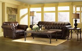 Living Room  Wonderful Yellow Wall Living Room Decor With Brown - Leather livingroom