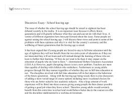 discursive essay on school leaving age gcse english marked by document image preview