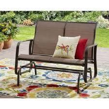 Aosom  Outsunny Outdoor Sling Fabric Patio Glider Chair  Brown Outdoor Glider Furniture