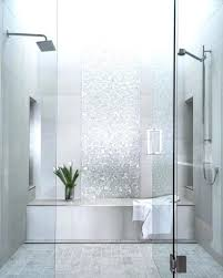Superb Printed White Shower Tile Ideas With Stylish Built In Tub And
