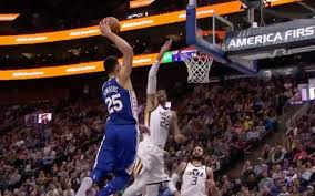 simmons 8 point. watch: ya boi ben simmons levels two utah defenders with a mighty dunk 8 point