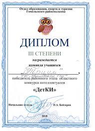 Новости Брилёвская средняя школа   8503 Диплом Детки 3 степени