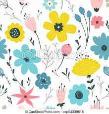 vector seamless pattern with pastel flowers csp54339618 on flowers wall art decor vector with seamless pattern with pastel flowers hand drawn flower background