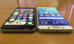 samsung galaxy s6 vs iphone 6. the iphone 6 is all glass at front, tapered edges giving phone a smoother finish compared to its predecessor but not as curved galaxy samsung s6 vs iphone u