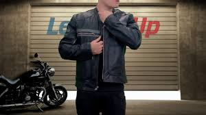 xelement mens black leather motorcycle jacket with grey stripes at leatherup