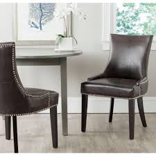 safavieh lester antique brown bonded leather dining chair set of 2