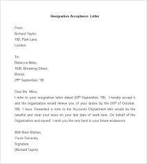 sample resignation acceptance letter resignation format letter of letter of resignation samples template