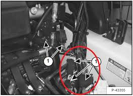 hi i have a bobcat skid steer im not sure exactly what modle at the correct manual the cab harness connectors are ing the red circle the large rectangle connector is the one you want to look at