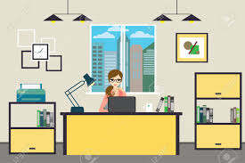 office at home. Cartoon Business Woman Working At Home Or Modern Office, Interior Design With Furniture,flat Office