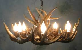 peak round whitetail deer antler chandelier 8 light