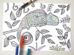 Chameleon Coloring Adults Reptile Colouring Kids Totem Animal Etsy
