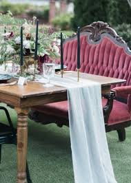furniture runners. serenity blue chiffon table runner for contrasting the blod colors of blooms and furniture runners
