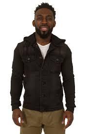 mens slim fit black denim jacket jersey cotton sleeves detachable hood