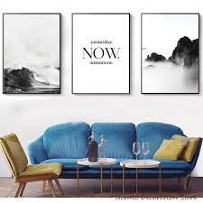 <b>Nordic Poster</b> Mountain Wall <b>Art</b> Canvas <b>Painting Sea Poster</b> Print ...