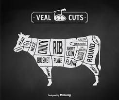 Veal Meat Chart Vintage Butcher Cuts Of Veal Or Beef Diagram Vector