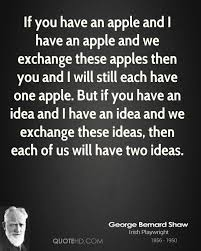 apple quotes. if you have an apple and i we exchange these apples then quotes y