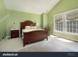 Stock Photo Master Bedroom With Green Walls ...
