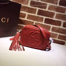 gg soho small leather disco bag red 308364