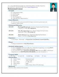 Resume example for freshers mechanical engineers