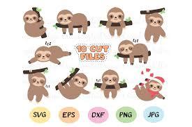Download free svg vectors for commercial use. Sloth Svg Bundle 10 Cute Sloths Cut Files Baby Sloths 520717 Cut Files Design Bundles