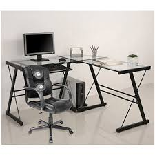 computer desk office works. Get Quotations · 3-Piece Glass Computer Desk And Relaxzen 2-Motor Mid-Back Leather Office Works