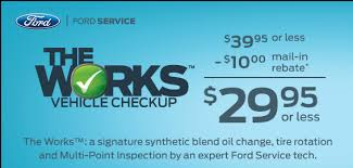ford works beach ford the works vehicle checkup offer