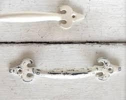 Vintage Style Drawer Pulls Antique White  Dresser Kitchen White Decor White Drawer Pulls L8
