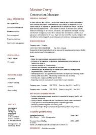 Construction manager CV template, building industry, references, work  history, construction projects