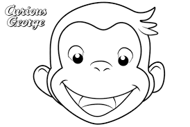 Curious George Coloring Pages Simple Face Drawing Free Printable