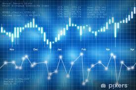Stock Market Candlestick Chart On Blue Background Wall Mural Vinyl