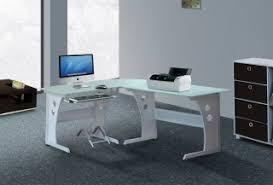 glass corner office desk. White Glass Computer Home Office Desk Corner PC Table