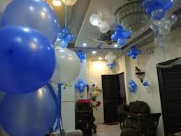birthday decorations idea at home with ribbons and balloons