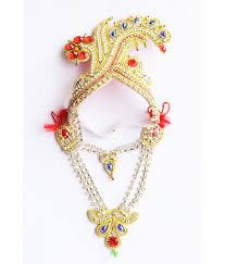 Laddu Gopal Jewellery Designs Anjalika Designer Mukut With Necklace For Laddu Gopal