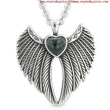 angel wings magic heart protection powers amulet simulated black onyx pendant 18 inch necklace cr16dclf