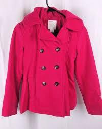 old navy girls large hot pink wool blend winter pea coat hooded jacket l 10